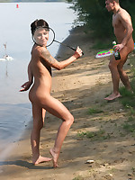 People playing nude badminton
