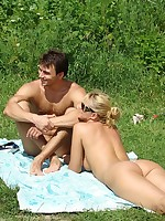 Nude Beach. Flirting and teasing on the beach